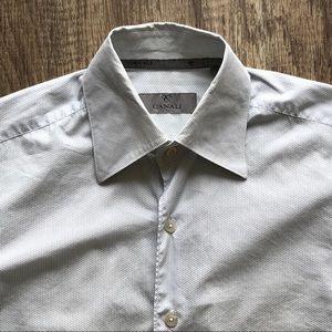 Canali Micro Polka Dot Button Up Casual Shirt